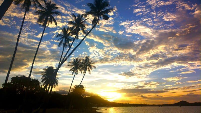 Заход солнца в samui Таиланде стоковое изображение