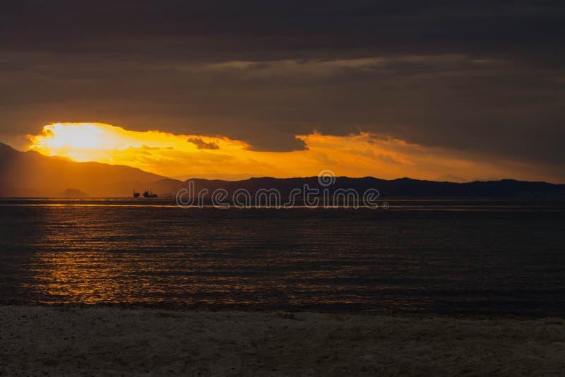 Заход солнца в Thassos стоковая фотография