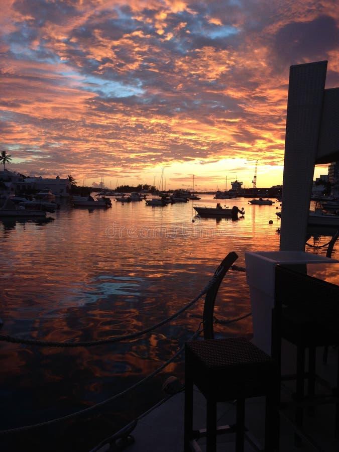 Заход солнца гавани, Бермудские Острова стоковая фотография
