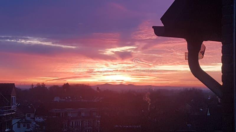 заход солнца Германии стоковое изображение