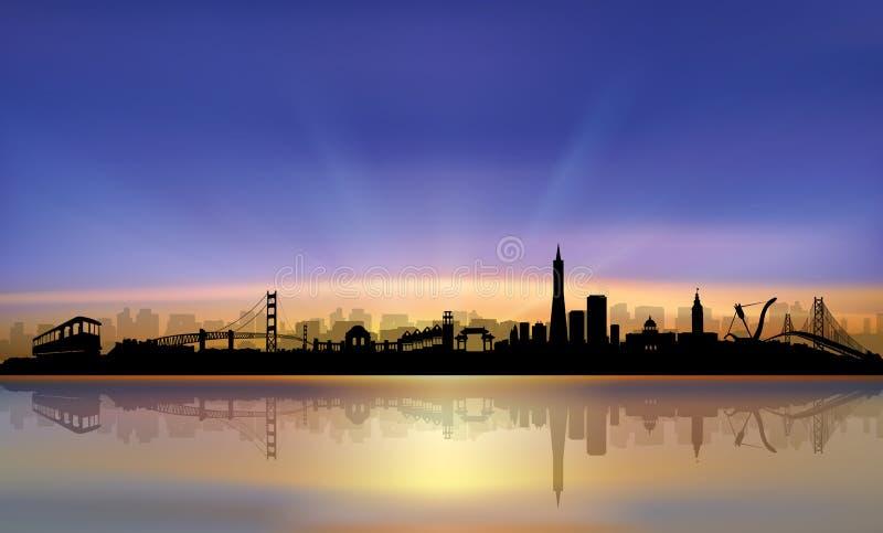 Заход солнца горизонта Сан-Франциско красочный иллюстрация штока