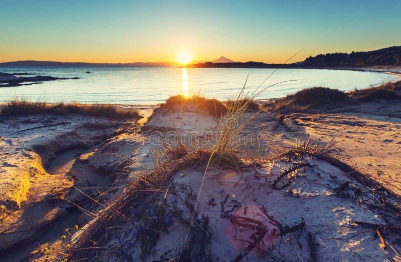 Заход солнца Греции стоковое изображение