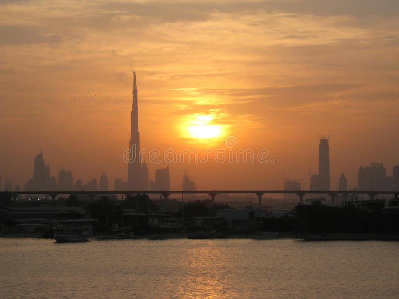 Заход солнца, Дубай стоковое фото rf