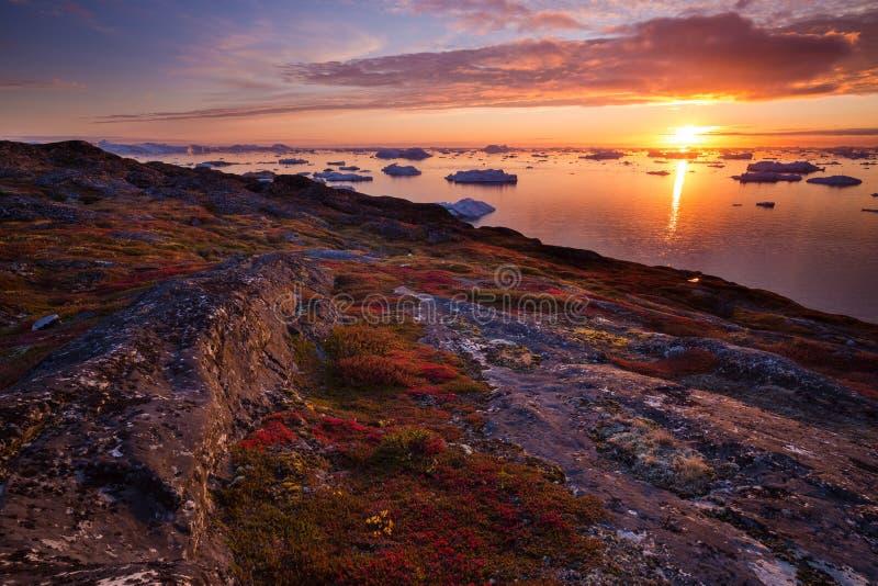 Заход солнца залива диско стоковая фотография