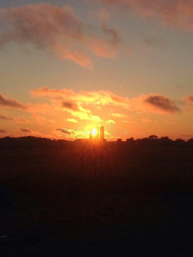 Заход солнца за силосохранилищами стоковая фотография