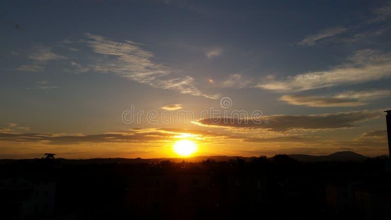 Заход солнца Италии стоковые фотографии rf