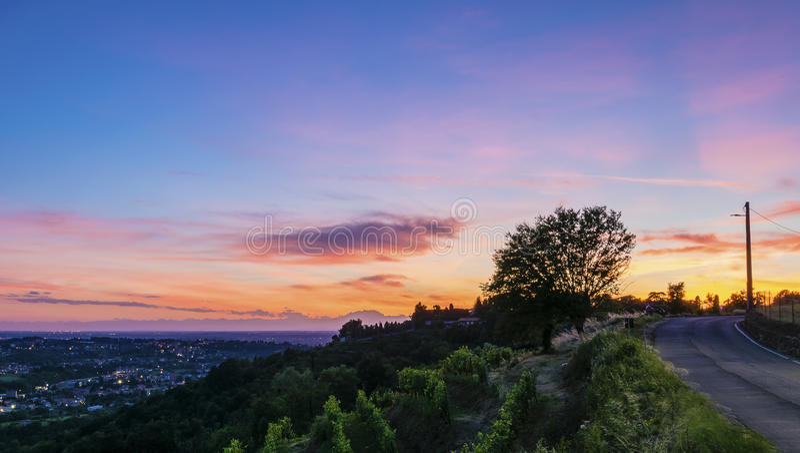 заход солнца Италии стоковое изображение rf