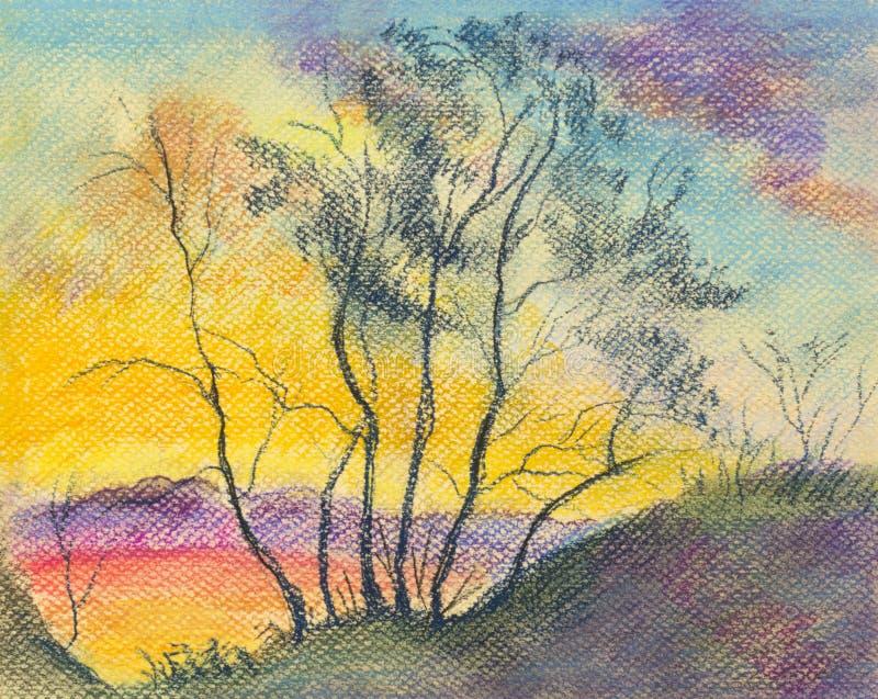 Заход солнца и деревья бесплатная иллюстрация
