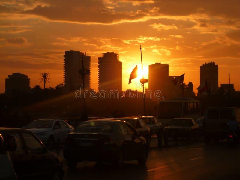 заход солнца Каира стоковое изображение rf