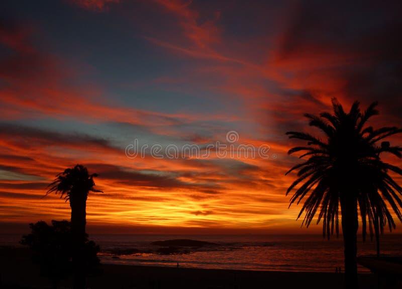Заход солнца Кейптаун стоковая фотография