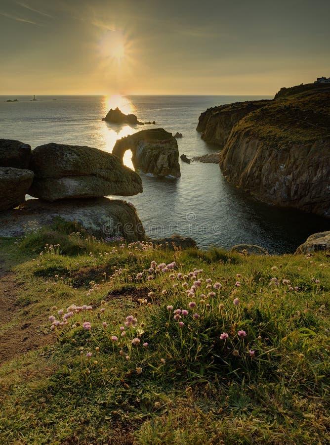 Заход солнца конца земель стоковое фото rf