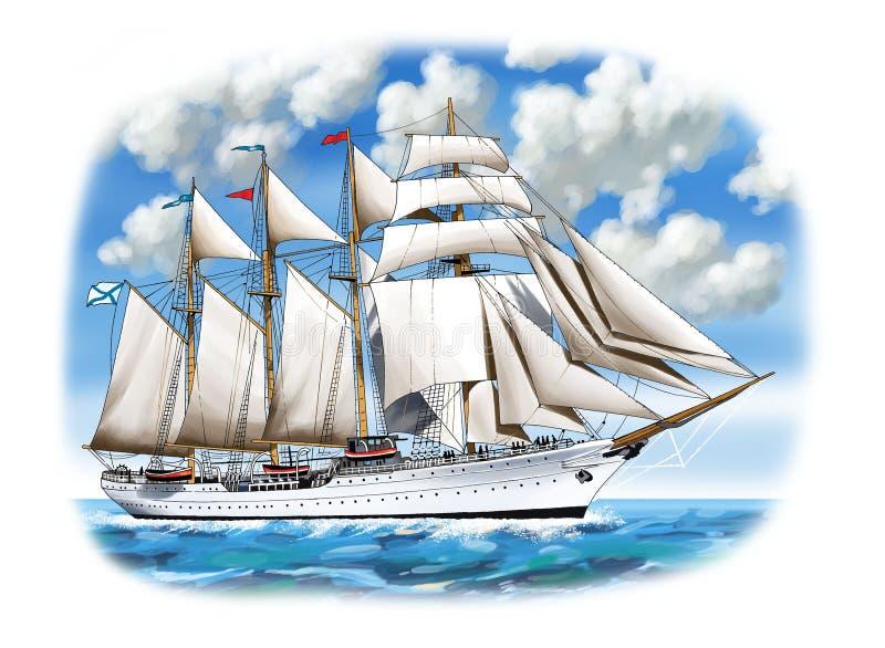 заход солнца корабля sailing ландшафта 3d иллюстрация вектора