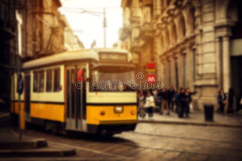 Заход солнца красивой европейской итальянской улицы Defocused horitzontal стоковое изображение