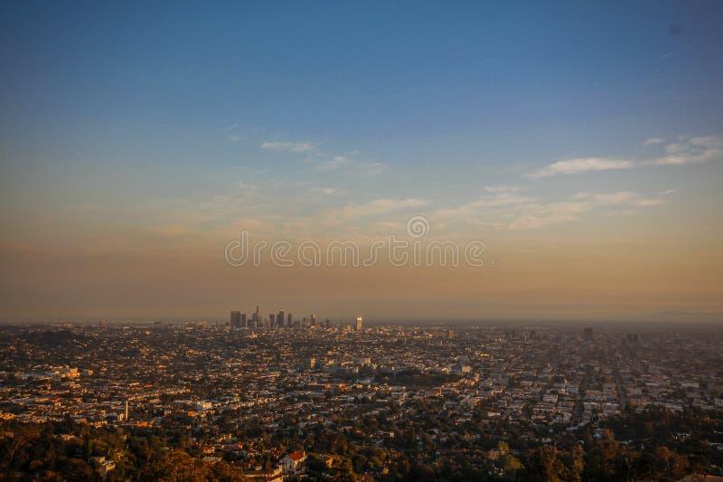 Заход солнца ЛА стоковая фотография rf