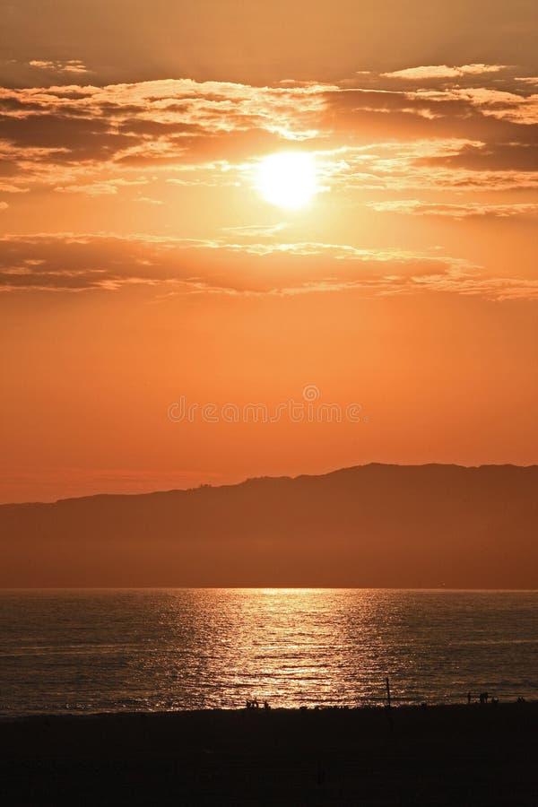 Заход солнца ЛА стоковое изображение