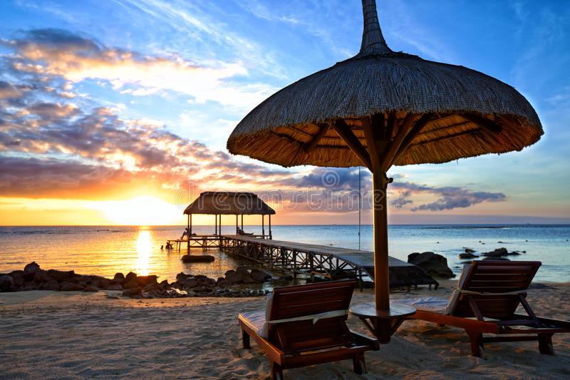 Заход солнца Маврикия стоковая фотография rf