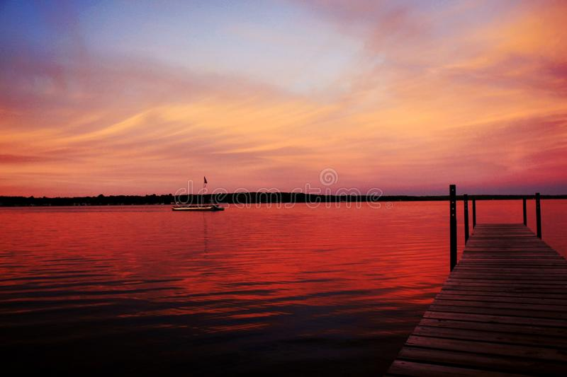 Заход солнца Мичигана стоковая фотография
