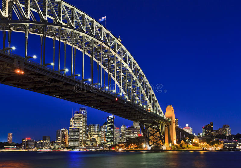 Заход солнца моста 40 CBD Сиднея стоковые изображения rf