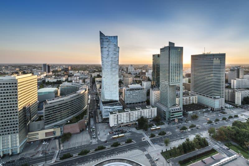 Заход солнца над городом Варшавы, Польшей стоковая фотография rf