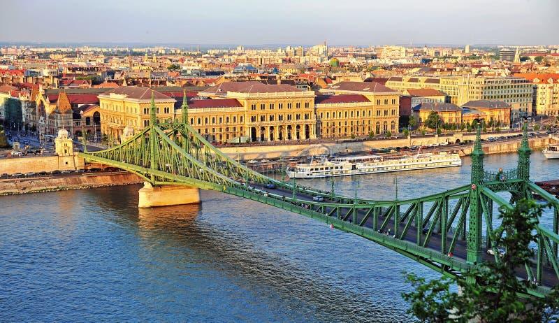 Заход солнца на Дунае, городе Будапешта стоковая фотография