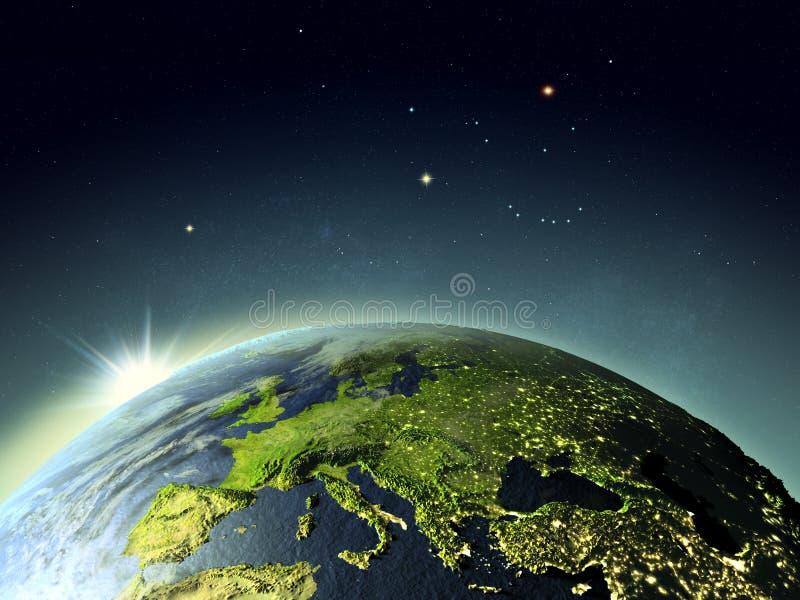 Заход солнца над Европой от космоса иллюстрация штока