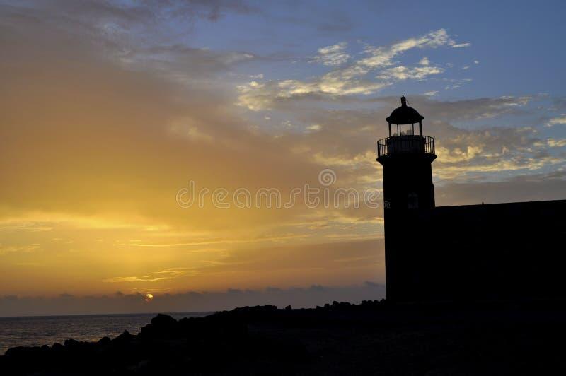 Заход солнца на маяке острова Лансароте стоковое изображение