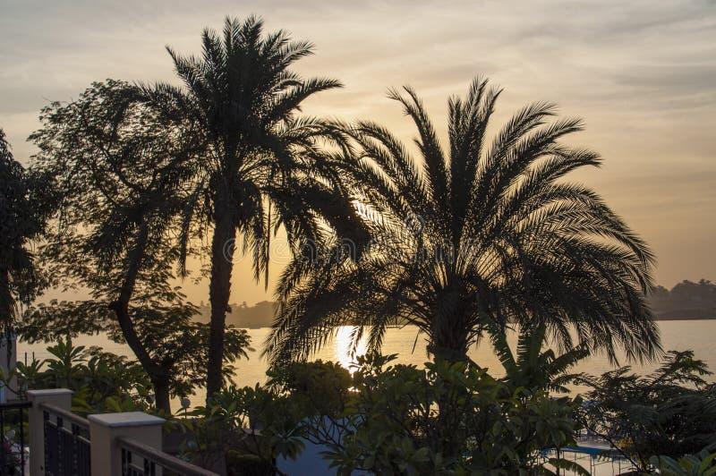 Заход солнца на Ниле стоковые изображения