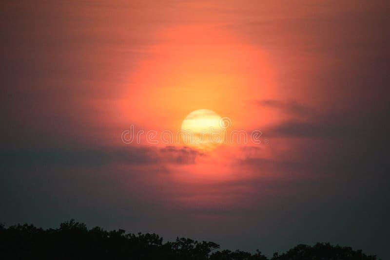 Заход солнца на озере в лете стоковое изображение