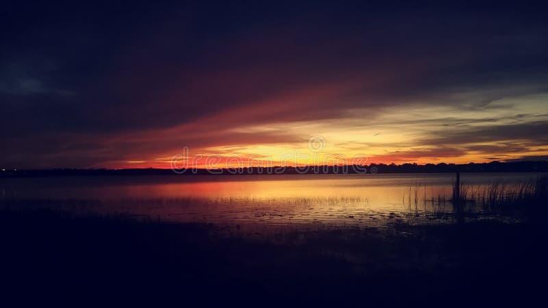 Заход солнца на озере Турци стоковые фото