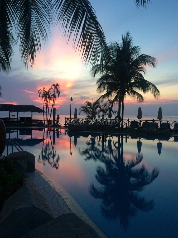 Заход солнца на острове Tioman стоковые фотографии rf