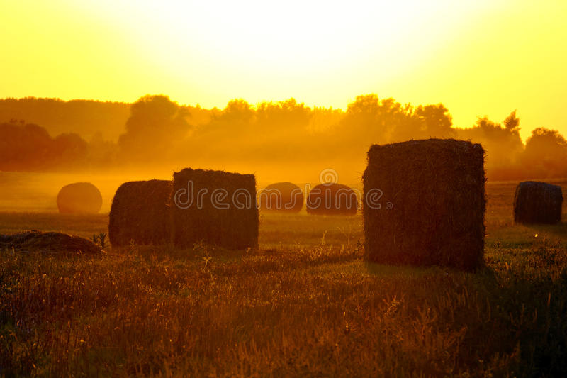 Заход солнца над полями, и солома. стоковые изображения