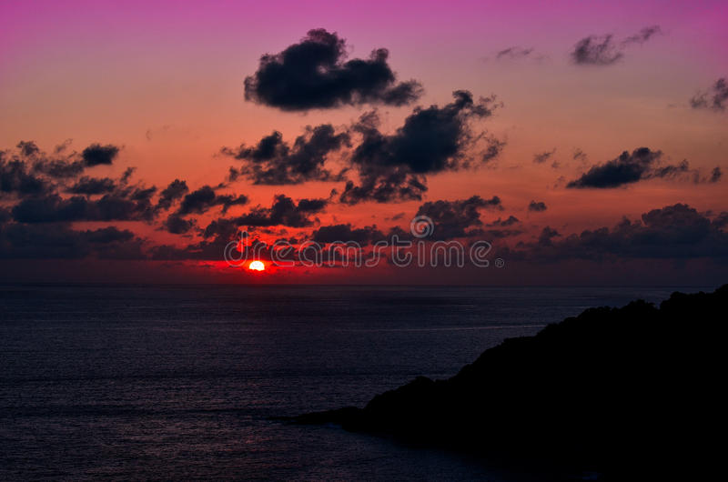 Заход солнца на плаще-накидк Phromthep стоковое фото rf