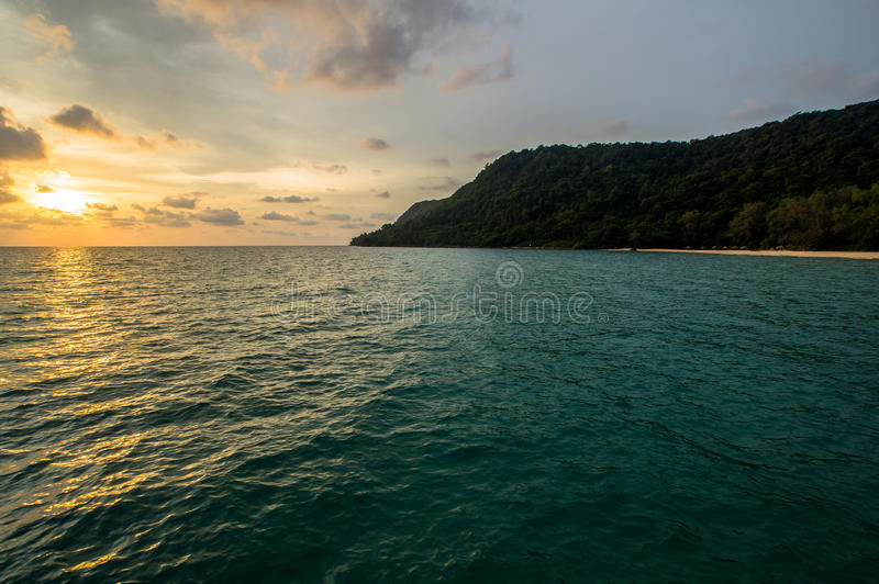 Заход солнца на пляже Робинсона стоковые фотографии rf