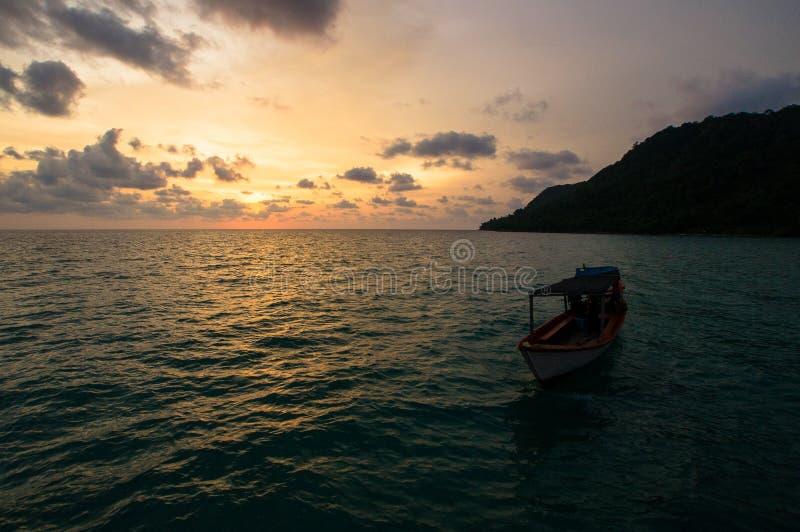 Заход солнца на пляже Робинсона стоковые фото