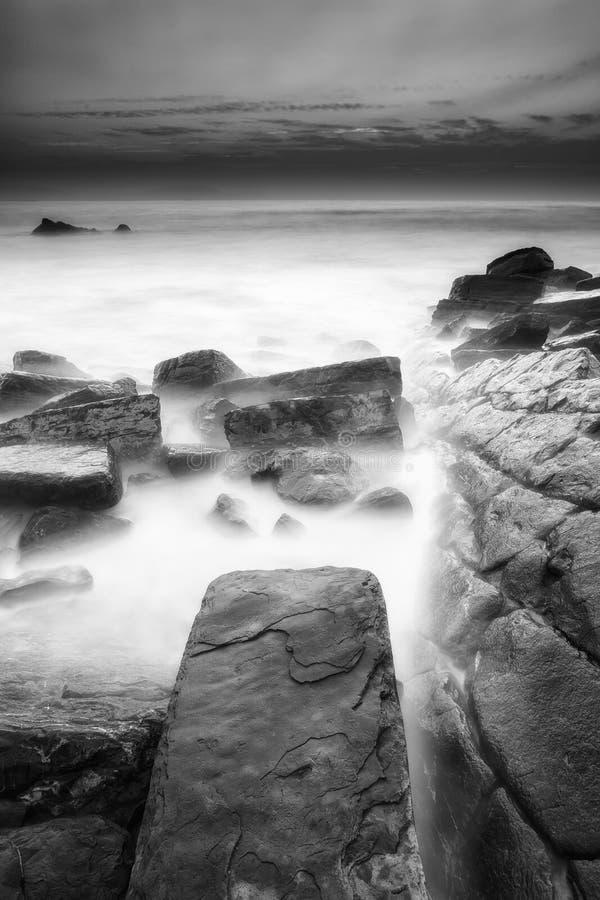 Заход солнца на пляже Barrika стоковые фотографии rf