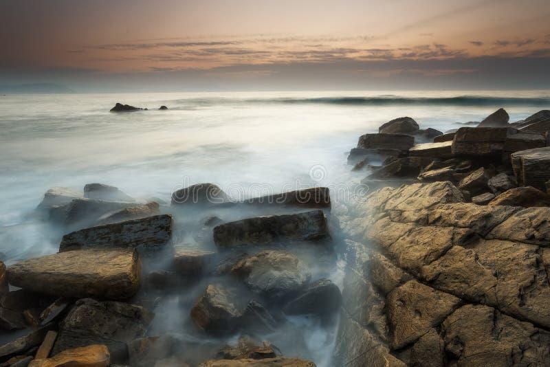 Заход солнца на пляже Barrika стоковое изображение rf