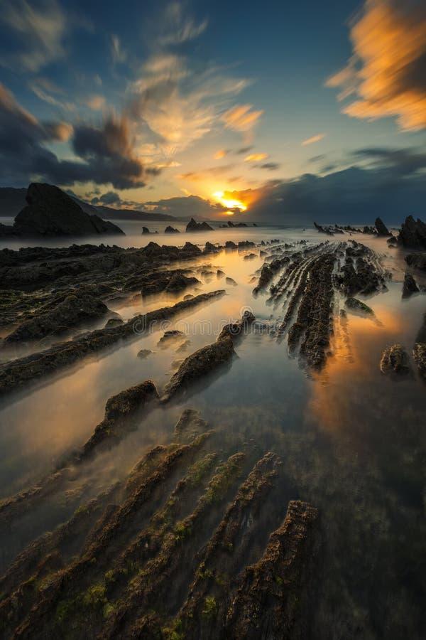 Заход солнца на пляже Sakoneta стоковые фотографии rf