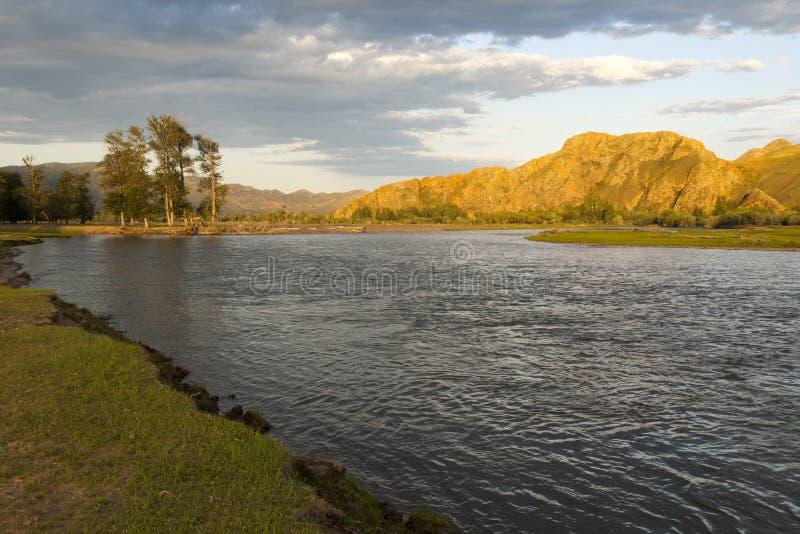 Заход солнца на реке Selenge стоковые изображения rf