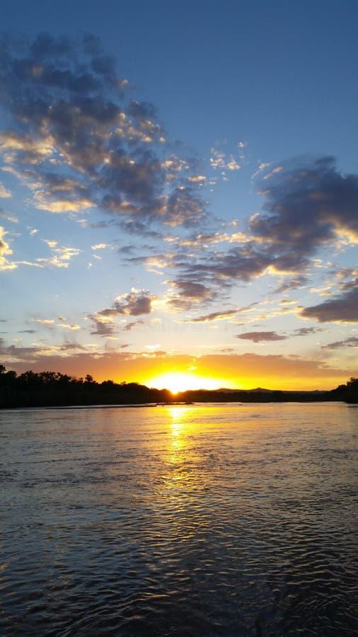 Заход солнца на Рио Гранде стоковые фотографии rf