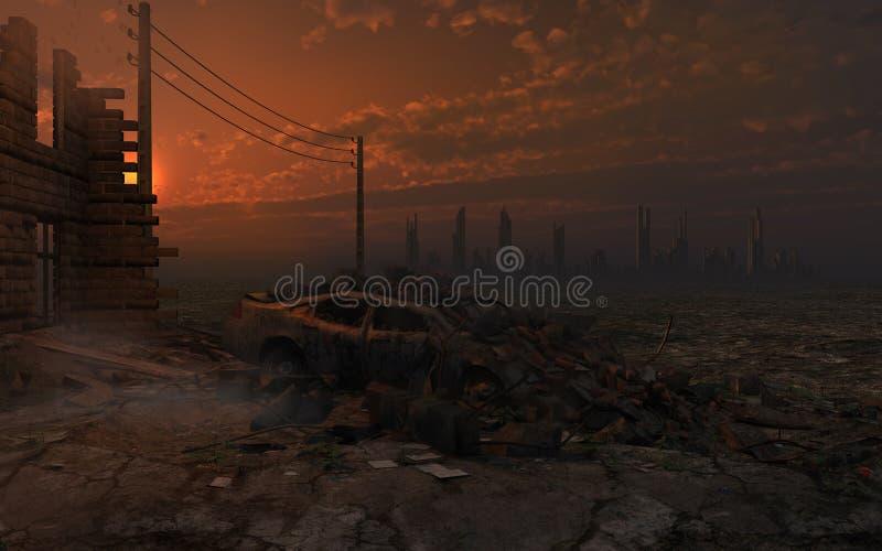 Заход солнца над руинами города иллюстрация вектора