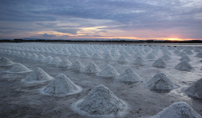Заход солнца над фермой соли стоковые фото