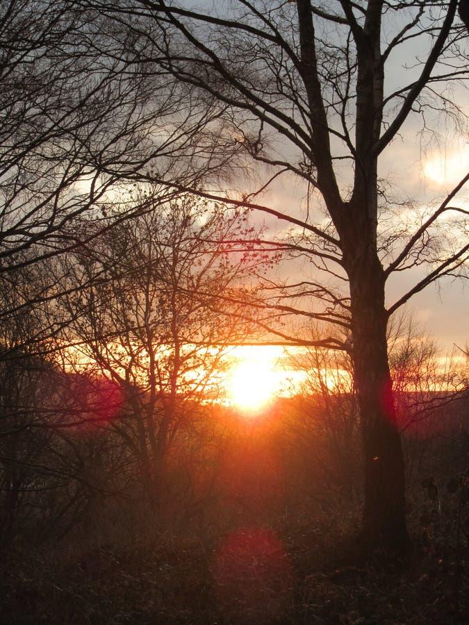 Заход солнца над холмами welsh стоковые изображения rf