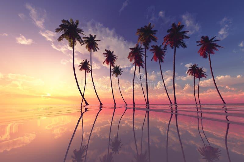 Заход солнца над штилем на море иллюстрация вектора