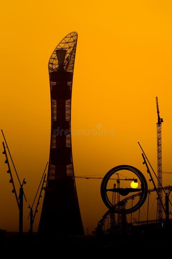 Заход солнца на Aspire Доха стоковые изображения