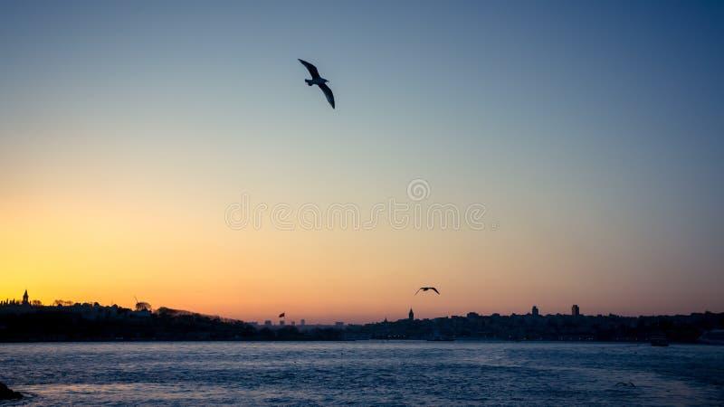 Заход солнца над Bosphorus в городском пейзаже Стамбула стоковое изображение