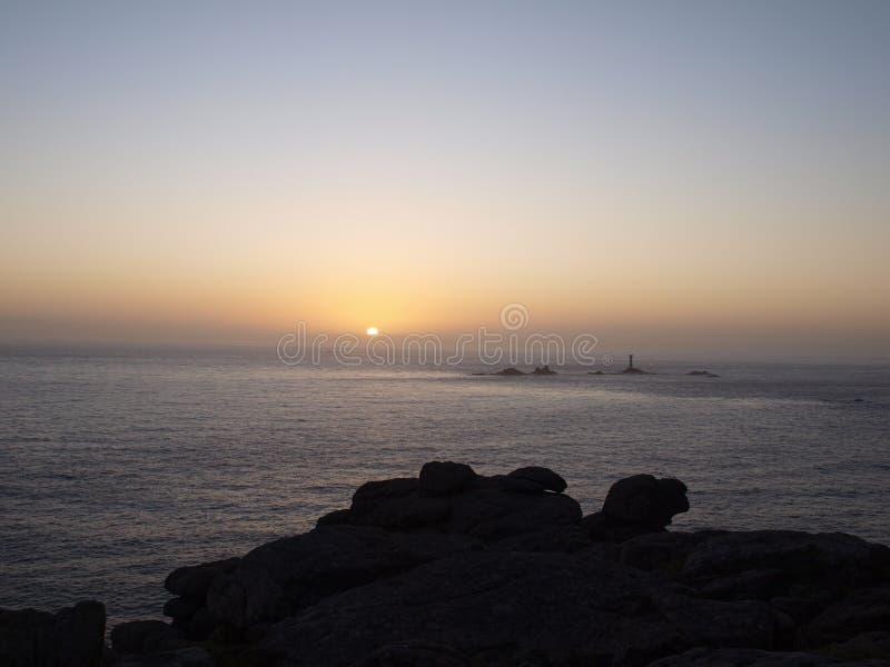 Заход солнца на St Ives в Корнуолле стоковое изображение