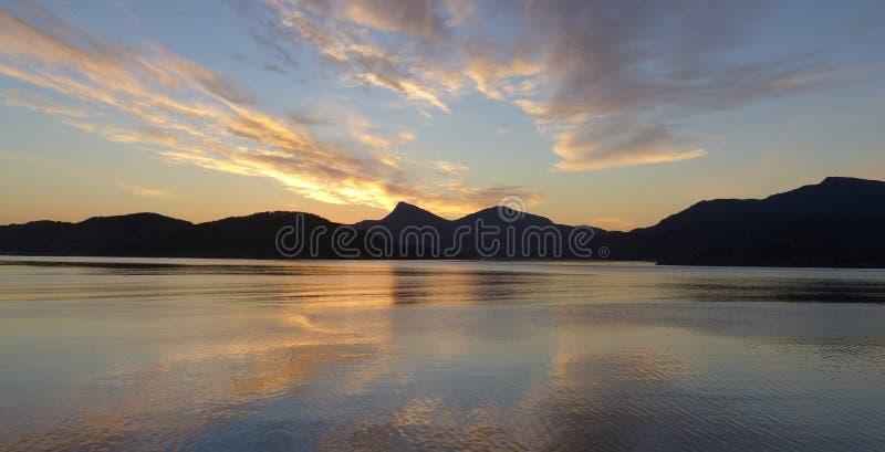 заход солнца Норвегии стоковые изображения rf