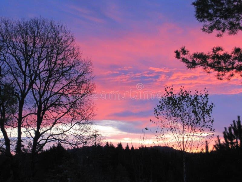 Заход солнца Норвегия стоковые фотографии rf