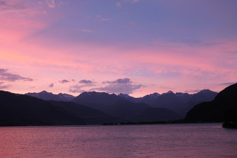 Заход солнца озера Como стоковые изображения rf