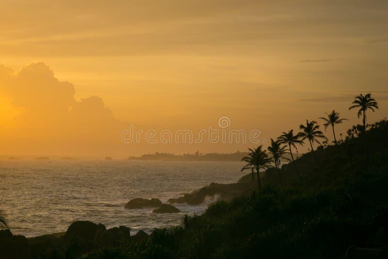 Заход солнца океана Индии стоковые изображения rf